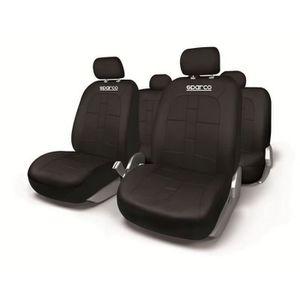 SPARCO Housses de si?ges- Universelles - Compatibles avec les airbags latéraux - Polyester - Lavables - Logo SPARCO - Noir