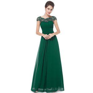 ROBE DE CÉRÉMONIE Robe de soirée longue bal verte dentelle plissée