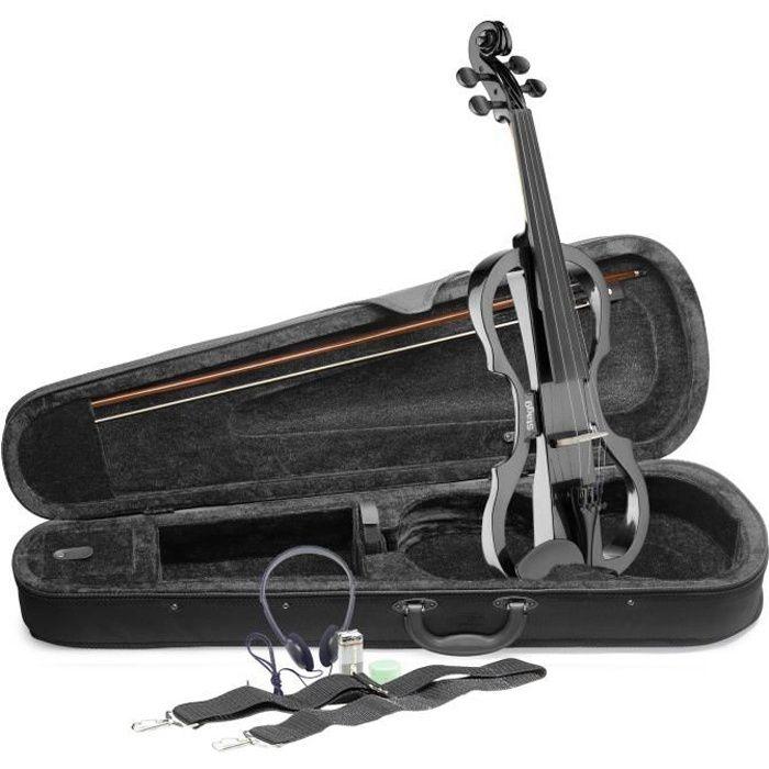STAGG EVN X-4/4 MBK Pack violon électrique 4/4 noir métallique - Etui semi-rigide - Casque