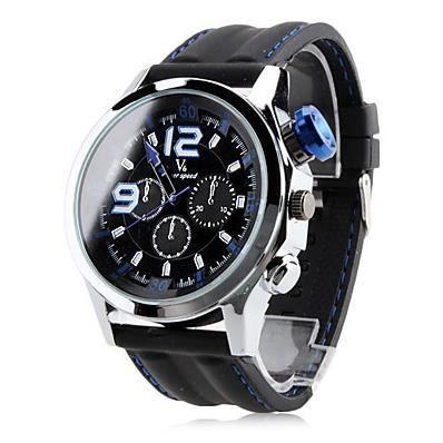 montre homme quartz gros cadran bracelet silicone noir achat vente montre soldes d s le 27. Black Bedroom Furniture Sets. Home Design Ideas