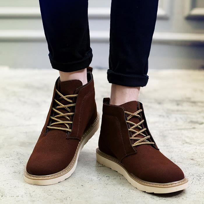 Botte Homme coréenne style Flatsde luxe marron foncé taille7