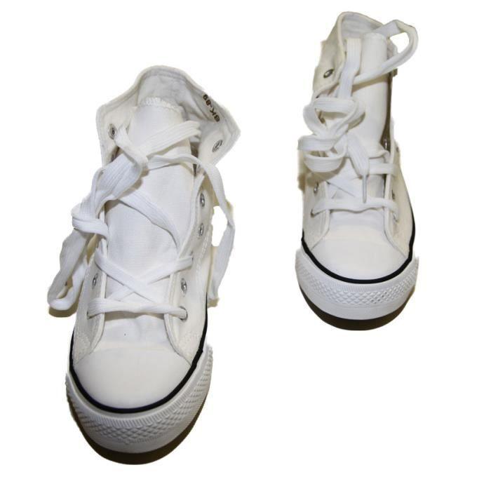 Basket Surpiquée Montante Homme en Toile Fashion ! Blanc  - Achat / Vente basket 2009978478987 - Soldes* dès le 27 juin ! Cdiscount