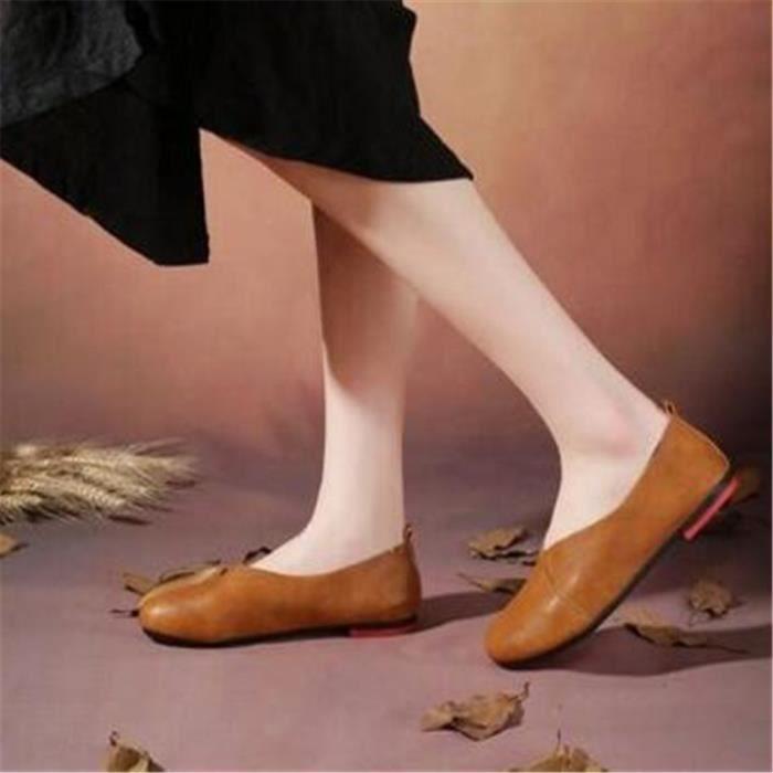 Chaussures Femmes En cuir Plat Chaussures Pour Femmes Printemps Été Classique Mocassins Chaussures Bout Rond Dentelle-up Muffin