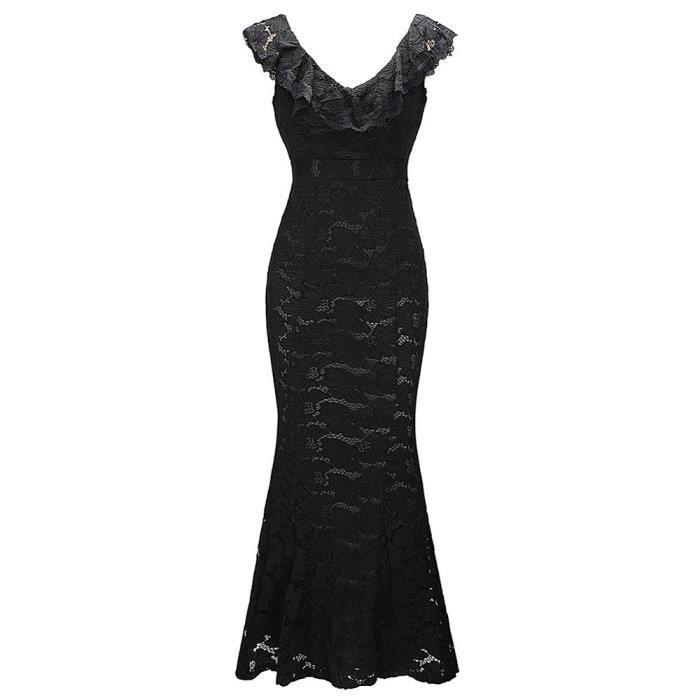 Frankmall®Femme sans manches floral dentelle formelle longue Party bal robe de soirée Noir CQQ71219345BK