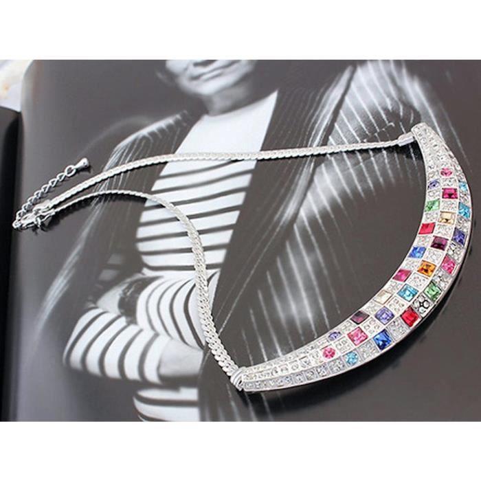 Cadeaux Saint-Valentin femmes Cristaux spéciaux Timeless Treasure Swarovski Collier géométrique Choker DNYIW