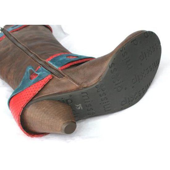 Chaussures 35 Marron T Petit Cuir Neuves Femme Talon Bottes FT1KlJc