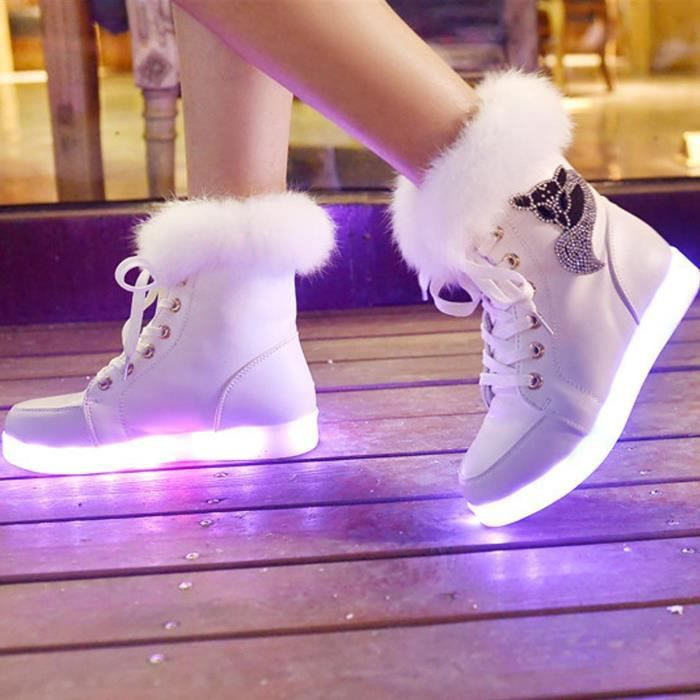 Femme Mode Boots USB Charger LED Lumineuse Strass Décoration -Blanc