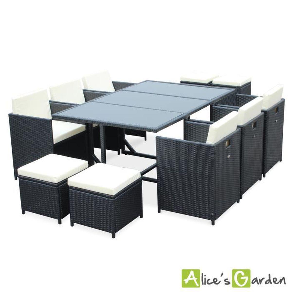 Salon de jardin Cubo Noir table en résine tressée 8 à 8 places ...