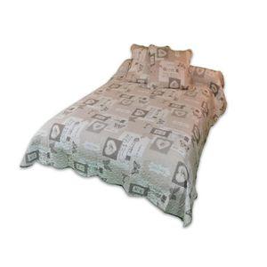 SOLEIL D'OCRE Couvre lit Boutis Olivia 220x240cm avec 2 taies d'oreiller