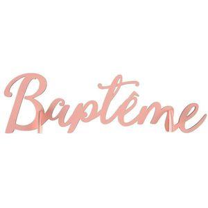 DÉCORATION DE TABLE Lettres Baptême en bois roses 22 x 13 cm
