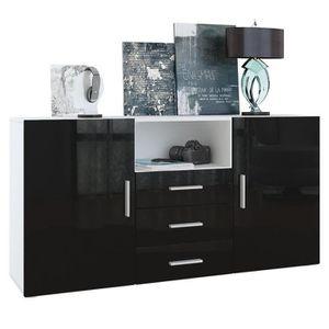 MEUBLE TV Meuble entièrement laqué Blanc et Noir139 cm