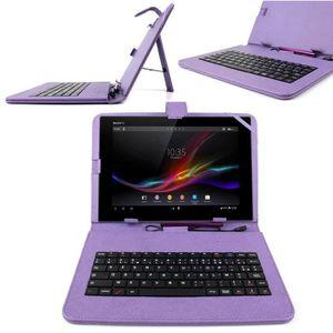 HOUSSE TABLETTE TACTILE Etui clavier 7 POUCES violet AZERTY pour tablette