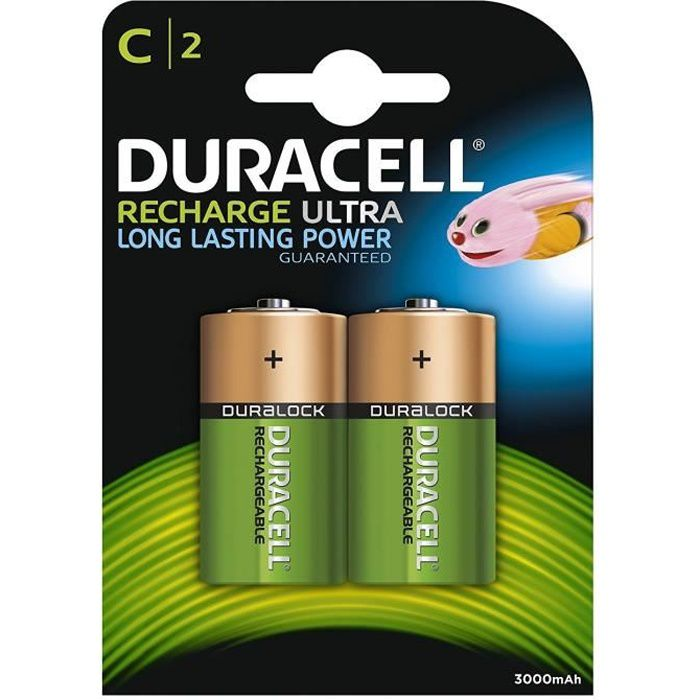 DURACELL Piles Rechargeables Ultra C 3000 mAh x2