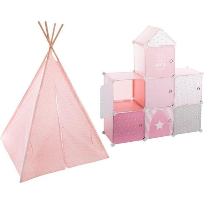 ÉTAGÈRE - BIBLIOTHÈQUE Tipi décoration rose H160 pour enfant + Rangement