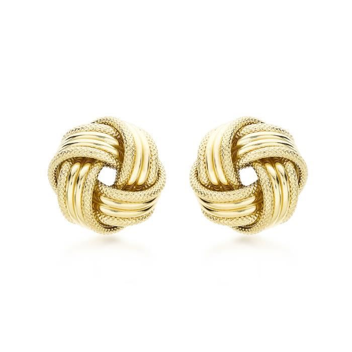 9 Ct Or Jaune Avec 13 Mm Knot Stud Earrings ANH0K