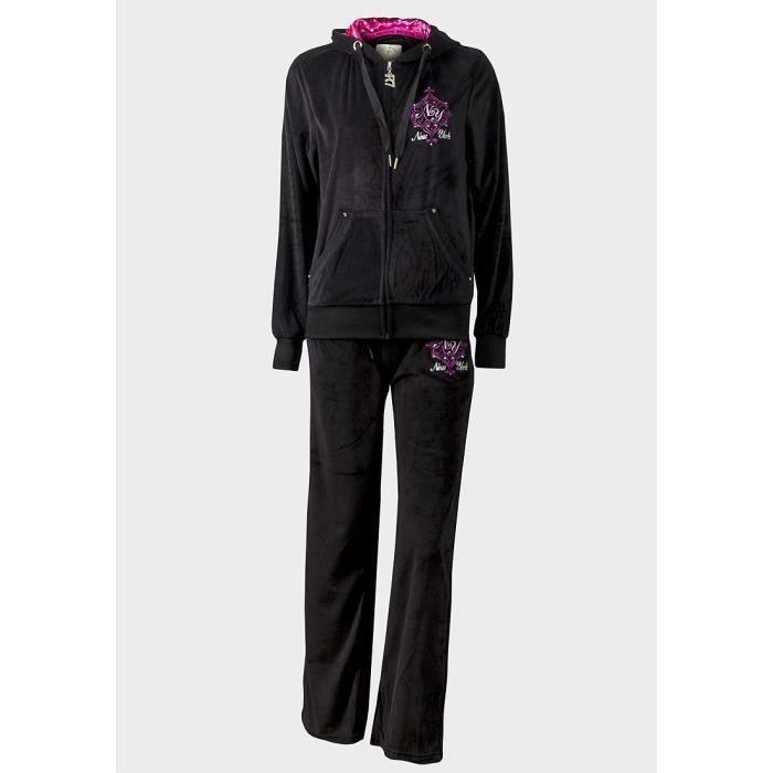 6d3747d61ec Survêtement velours femme fille taille L 42 pantalon jogging et veste à  capuche noir strass New York NY vêtement de sport ou détente