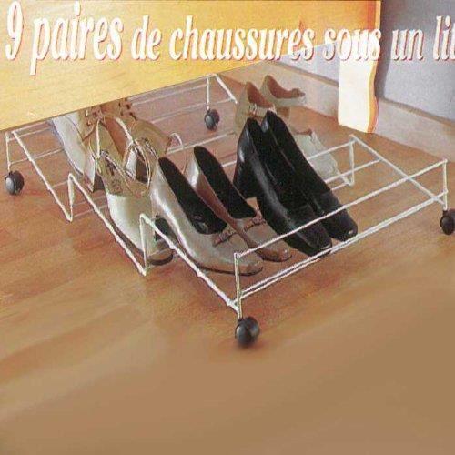 range 9 paires de chaussures sous le lit acier a roulettes achat vente housse de. Black Bedroom Furniture Sets. Home Design Ideas