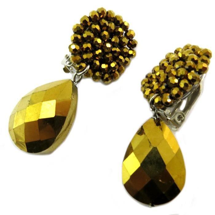 Clips doreilles artisanales Callas doré - 5x2 cm [P3698]