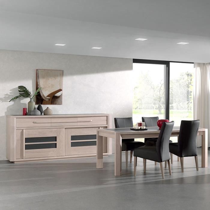 Salle à manger moderne couleur bois et gris CASSANDRE Avec éclairage 180 cm