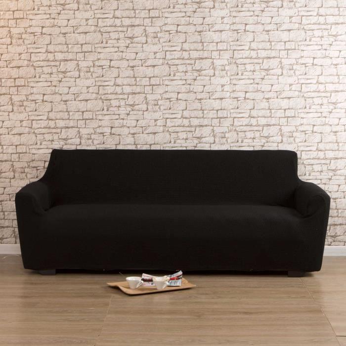 housse de canapé 3 places bi-extensible lisa-noir - achat / vente