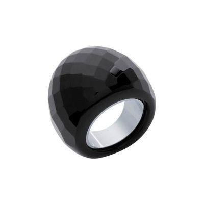 bague pierre noire facettes acier noir achat vente bague anneau bague pierre noire. Black Bedroom Furniture Sets. Home Design Ideas