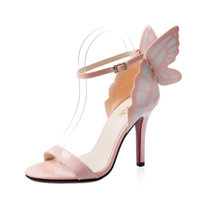 Angkorly - Chaussure Mode Escarpin decolleté stiletto femme noeud papillon Talon haut aiguille 10 CM - Rose - L9606 T 41 iMLTMCzxz
