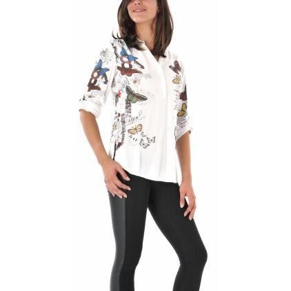 f7bbfc74cb0c1 Blouse Desigual Celine nc Blanc - Achat / Vente chemisier - blouse ...