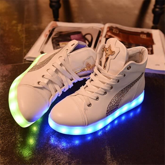Baskets LED Chaussures de sport Femme Blanc 2YY61