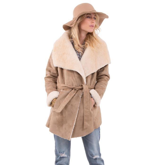 Manteau femme hiver en peau retournee