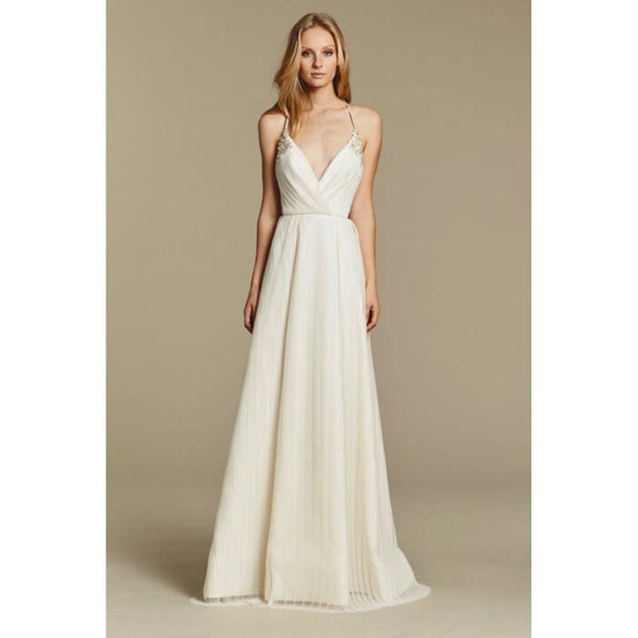Robe De Mariee Mariage Blanche Longue Pas Cher Sexy Dos Nu Taille 36 38 40 42 44 46