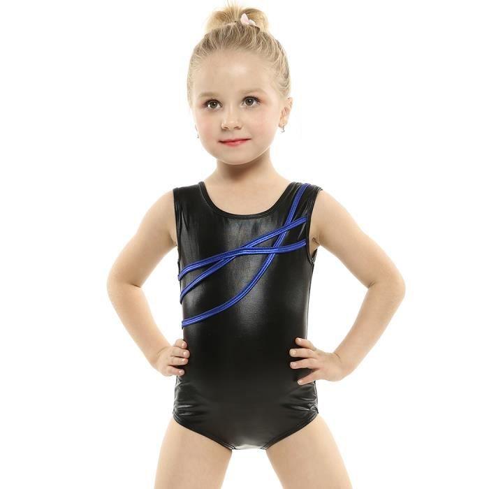 Justaucorps Gymnastique Justaucorps Danse Fille O-cou sans manches  Patchwork Dancewear e9c2458a918