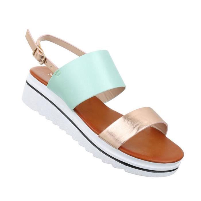 Femme sandales chaussures chaussures de plage chaussures d'été Strappy noir argent 41