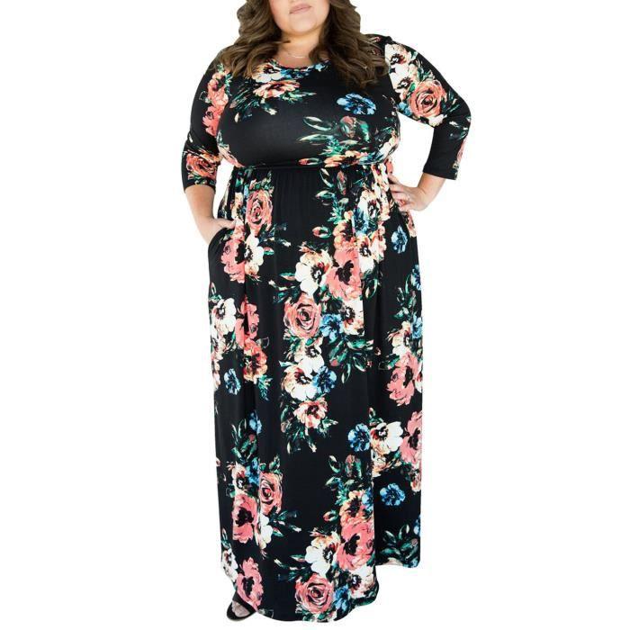 Minetom Femmes Bohême Col Rond Manches 3-4 Imprimée Florale Plus Grande Taille Robe Longue Avec Poche Plage Fête Maxi Dress