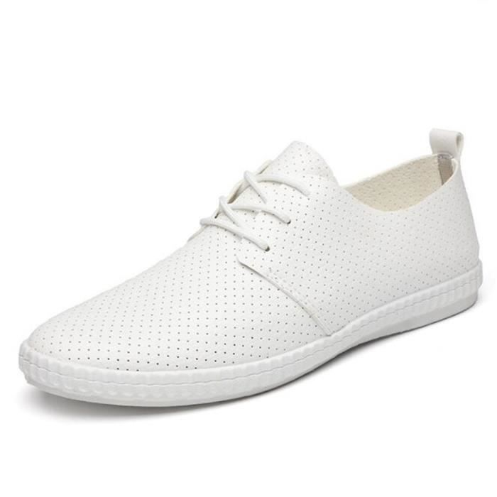 Chuassures Hommes Cuir Printemps Ete Durable Occasionnels Chaussures FXG-XZ084Blanc44