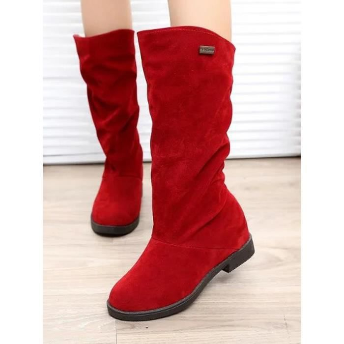 Chaussures femme Plate-forme Automne bout rond confortable Bottes mi-mollet 11430144 Vs0Gziv8T