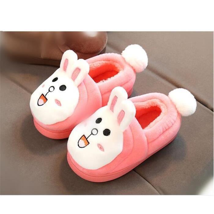 Chaussons Pantoufles Enfants Mules, Chaussures D'hiver Chaudes Pantoufles de Coton, Taille Gratuit (Rose)
