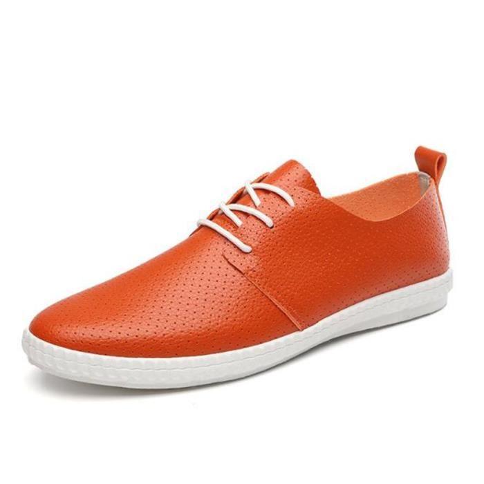 Cuir LLT Printemps Ete Classique Hommes Occasionnels Chuassures XZ084Jaune44 Chaussures 5q7xAnT0