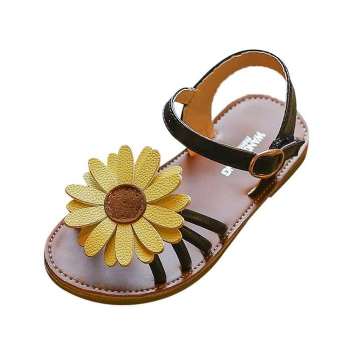 Spartiates Bébés Enfants Fleurs Sandales Princesse Noir Petits Chaussures Tout Filles WE2IHDb9eY