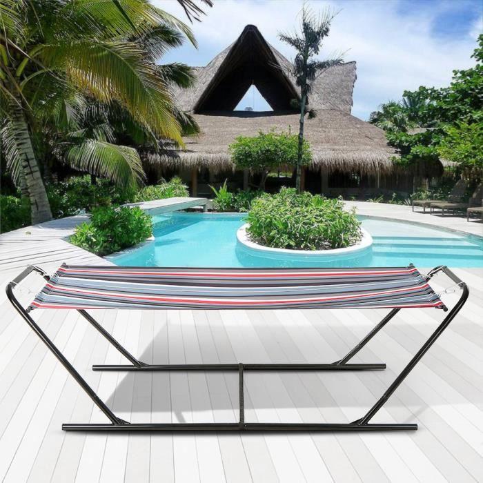 Ikayaa Moderne Hamac Avec Support Capacité Max 150kg Pour Jardin