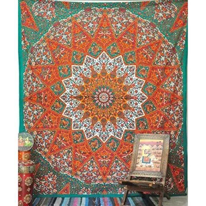 Vanker Tapisserie Murale Mandala Couvre Lit Ombre Mandala Mural