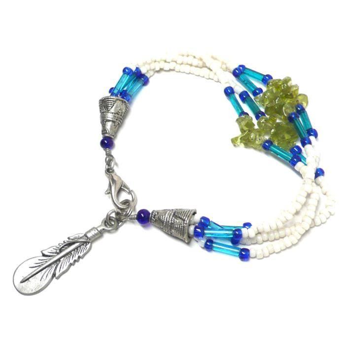 Femmes Plume Étain Peridot Chips Quatre Strand Bracelet en perles 7-1 - 8 J5393