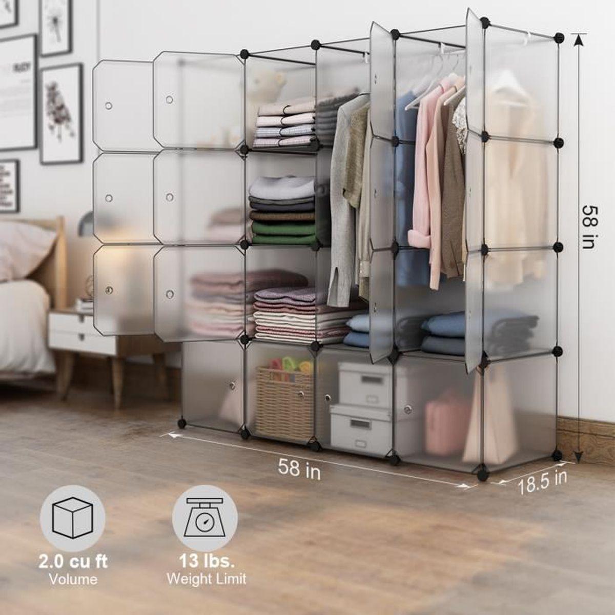 Langria Armoire Etagere 16 Cubes Plastique Modulable