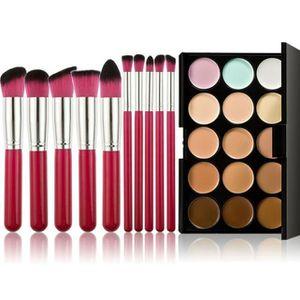 PINCEAUX DE MAQUILLAGE 10pcs Maquillage Pinceaux Fond de teint poudre far