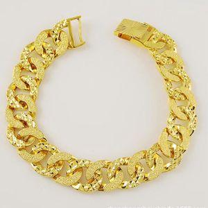 BRACELET - GOURMETTE plaqué hip hop bracelet or jaune 18 carats hommes