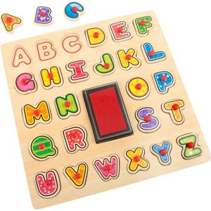 TAMPON DÉCORATIF Puzzle en bois avec Tampon et Encreur Alphabet - L