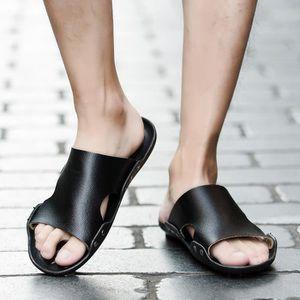 Plage décontractée hommes respirants pantoufles Sandales été maison plat tongs chaussures @XYM80305907BK E2ZCp