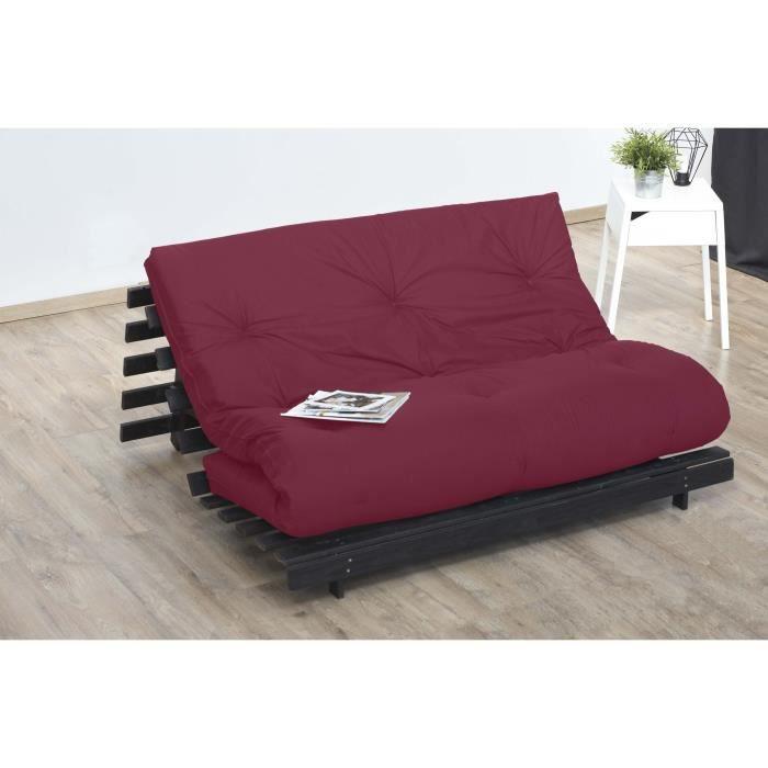 Matelas futon 140 x 190 - Confort ferme et Equilibré - Epaisseur 15 cm - Rouge