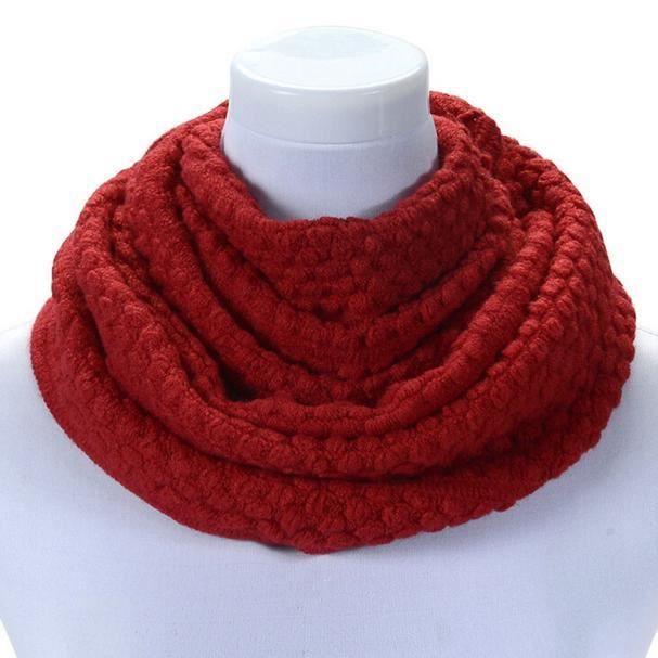 Femmes hiver chaud infinité 2 cercle câble tricoté col longue écharpe châle  LXX51104202RD be455c6ab6c