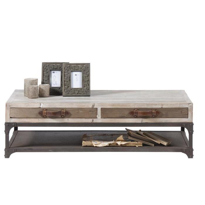 Table Basse Metal Et Bois Vieilli Voyage Meuble House Achat