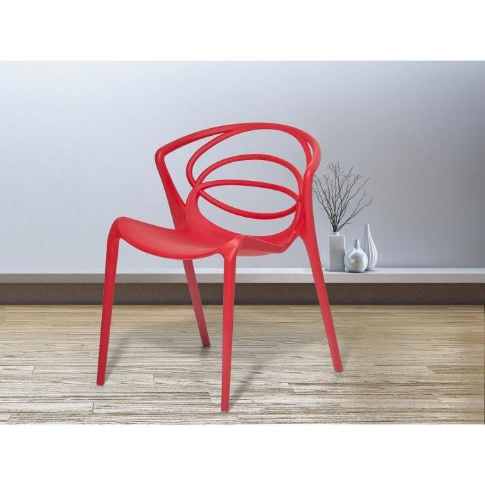 Chaise De Jardin Design Siege En Plastique Rouge Bend Achat